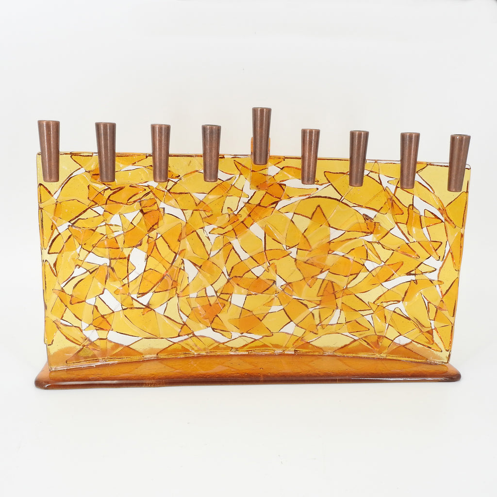 Yellow Glass Arc Menorah