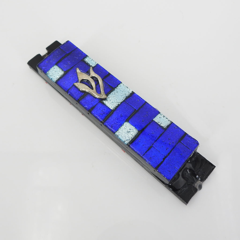 Blue Silver Glass Mezuzah