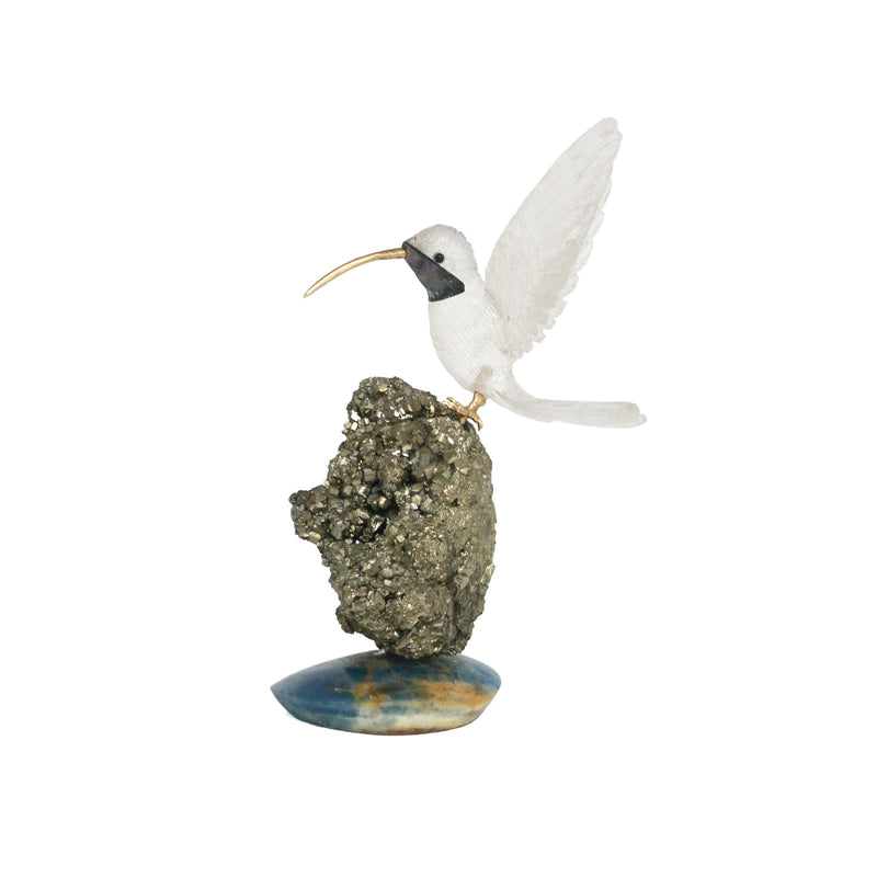 Crystal Bird With Pyrite Apatite Base