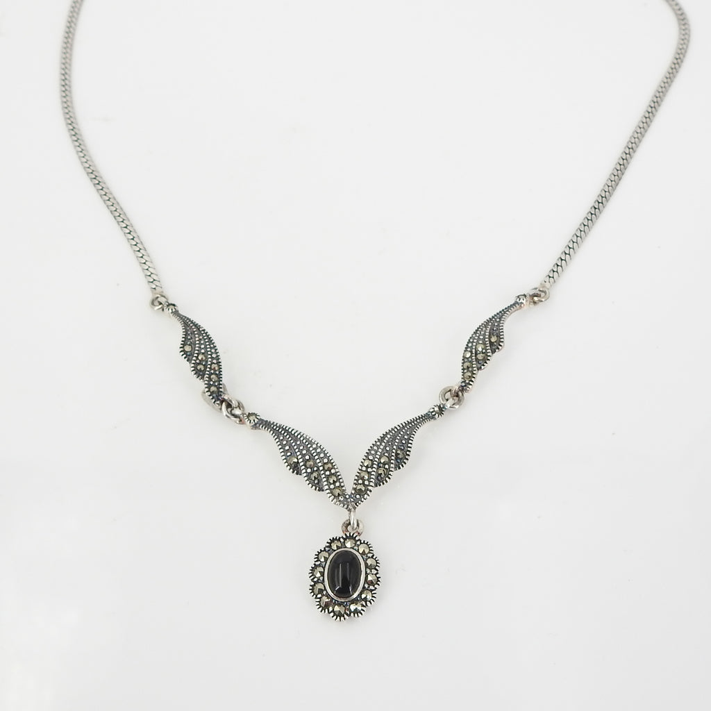 Sterling Silver Antique Inspired Marcasite & Onyx Necklace