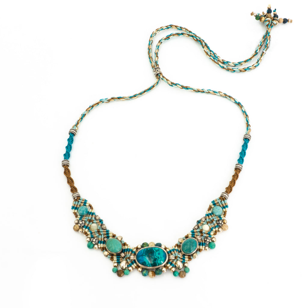 S/S Chrysocolla Knotwork Necklace