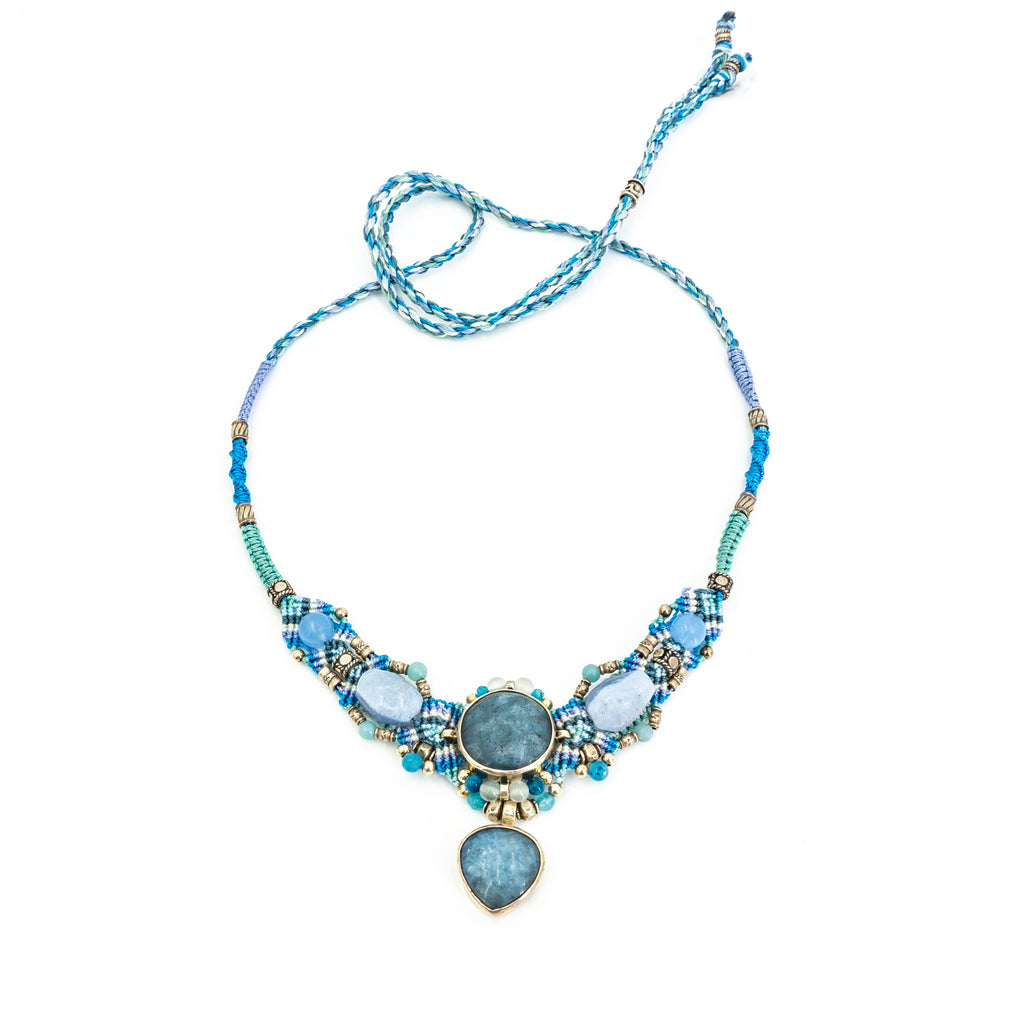 S/S Aquamarine Knotwork Necklace