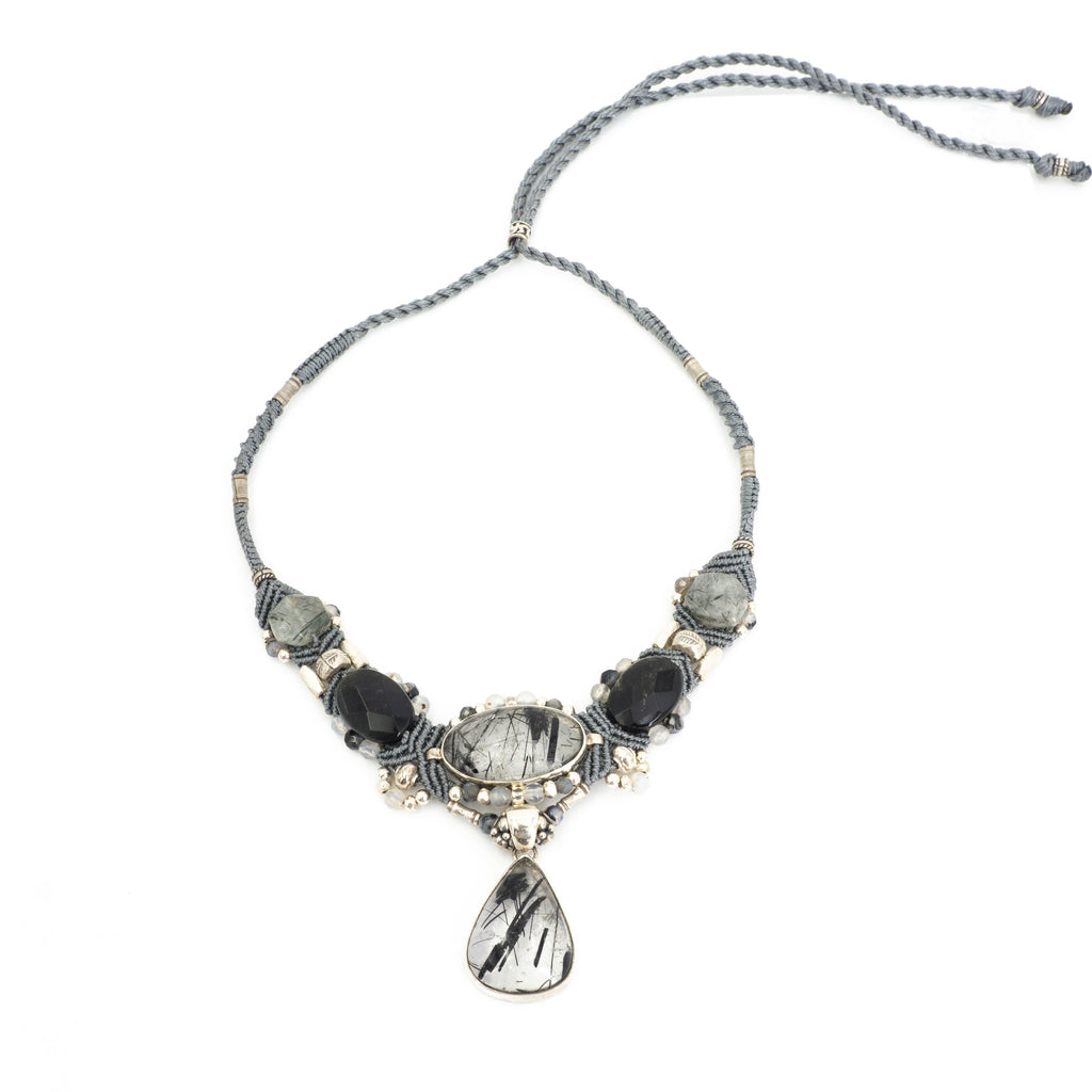 S/S Black Rutilated Quartz Knotwork Neck