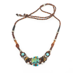 S/S Turquoise Tiger Eye Necklace