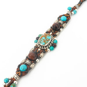 Close Up Picture of Sterling Silver Turquoise Tigers Eye Bead Bracelet by Isha Elafi