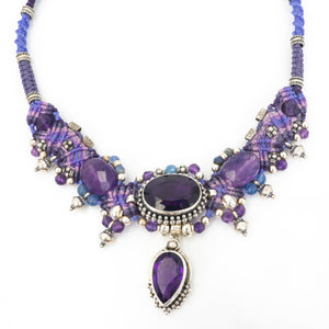 S/S Amethyst & Silver Beads Necklace