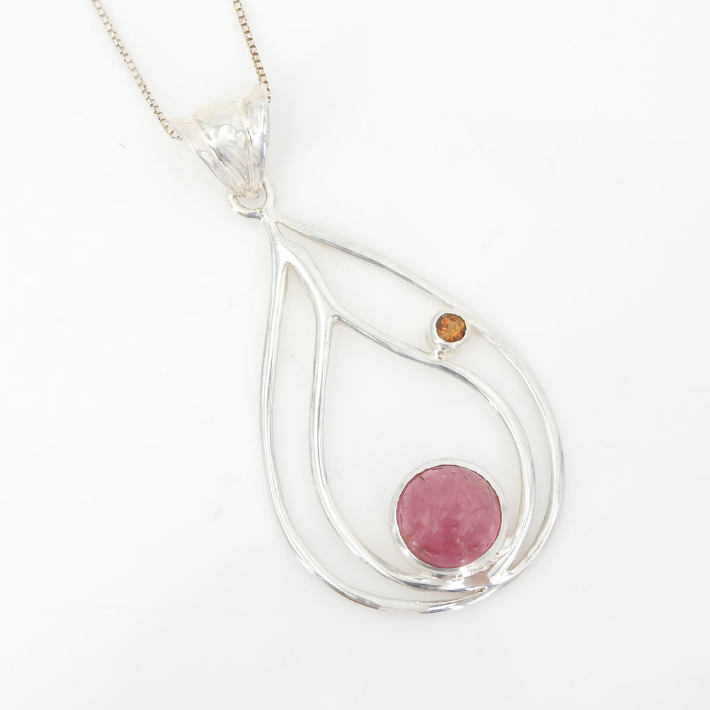 Sterling Silver and Pink Tourmaline Pendant