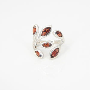 Sterling Silver Six Garnet Ring SZ 7