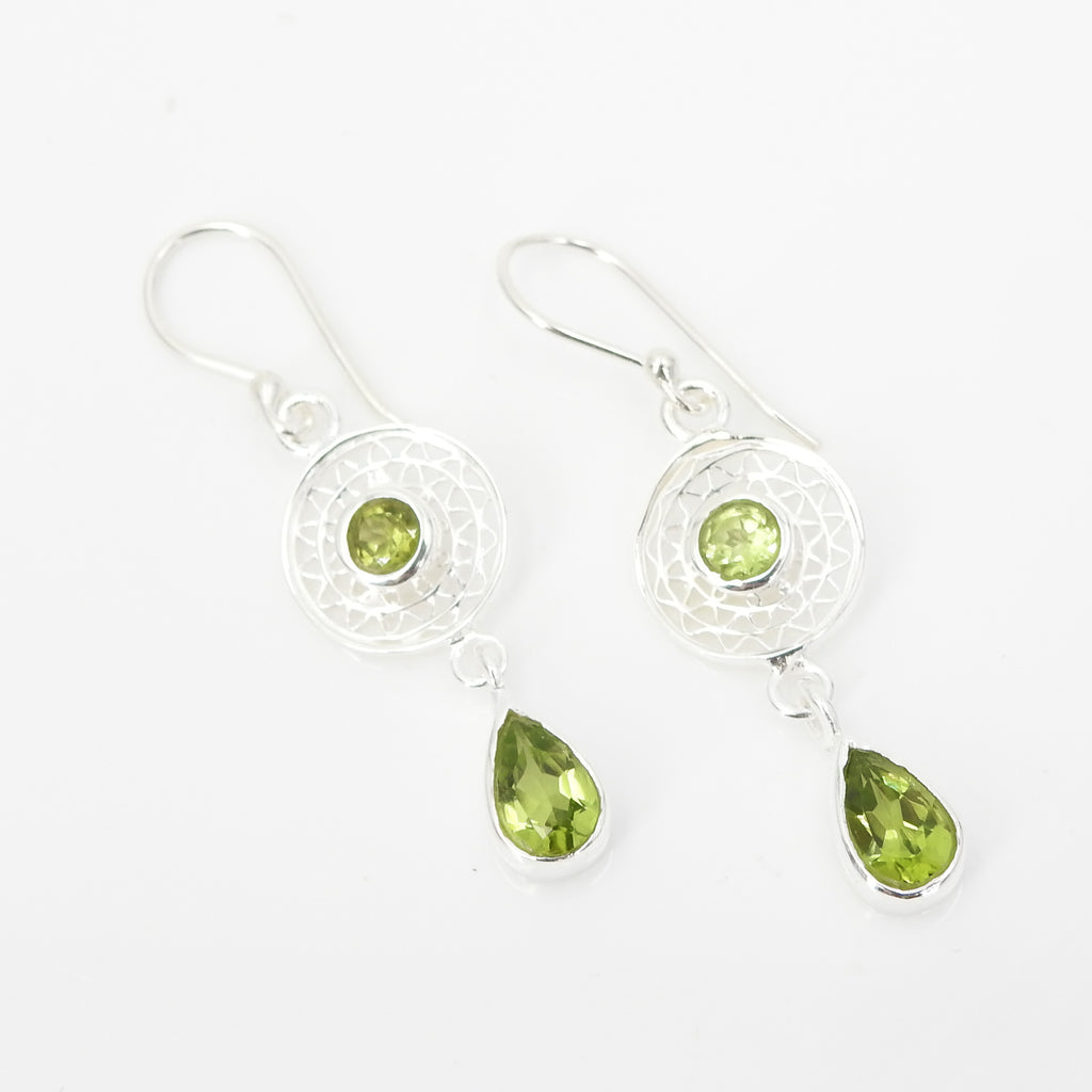 S/S Peridot Dreamcatcher Earring