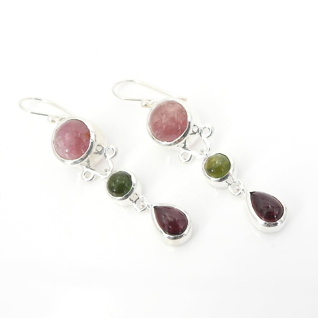 Sterling Silver Mixed Tourmaline Earring