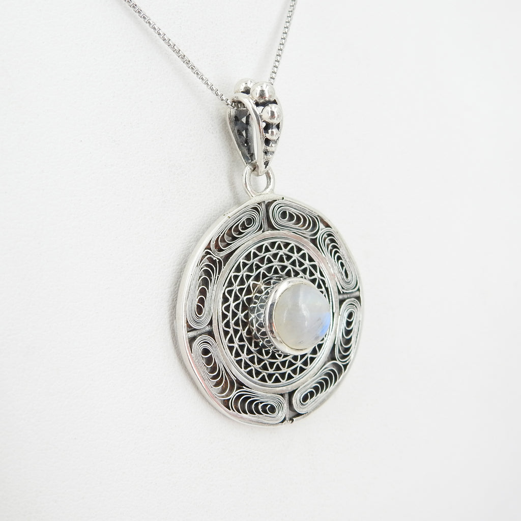 Sterling Silver Rainbow Moonstone Filigreed Pendant