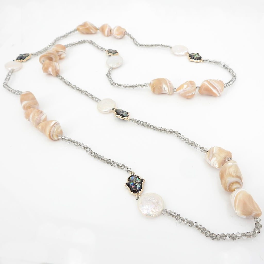 Pearl Flat Coin Hamsa Necklace