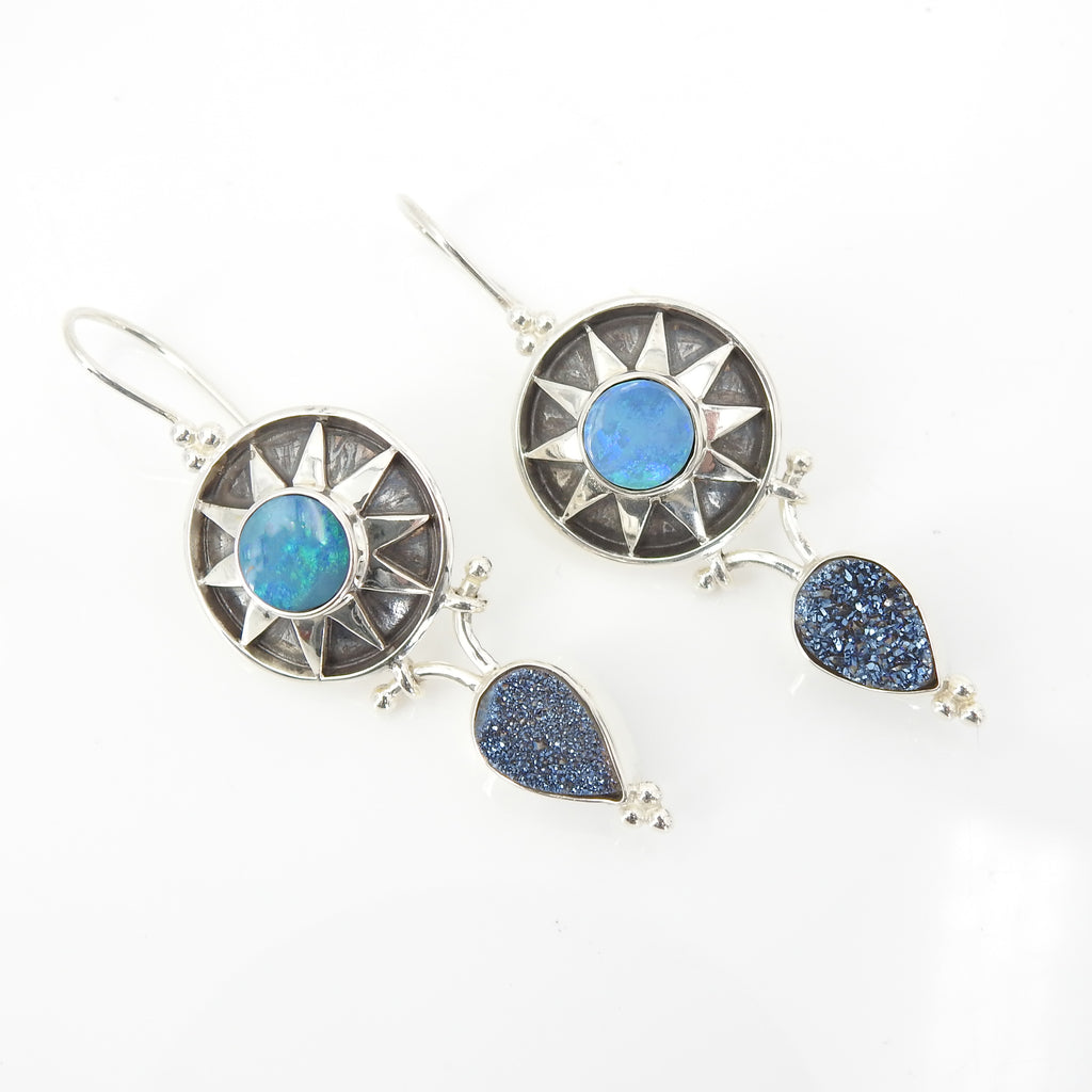 Sterling Silver Opal & Druzy Sun Earrings