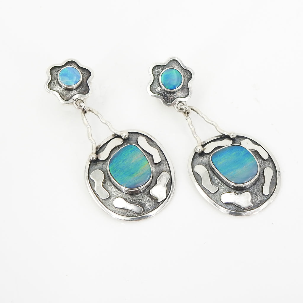 Sterling Silver Flower W Opal Earrings