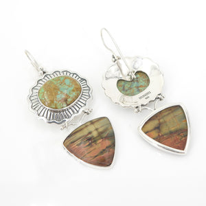 Sterling Silver Turquoise & Jasper Earrings