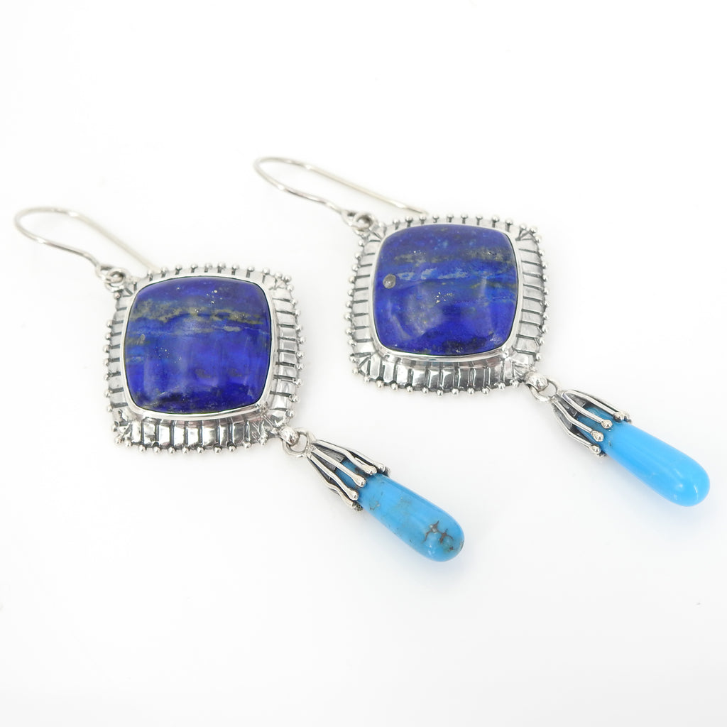 Sterling Silver Lapis & Turquoise Earrings