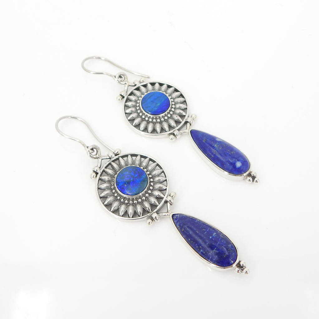 Sterling Silver Opal & Lapis Earrings