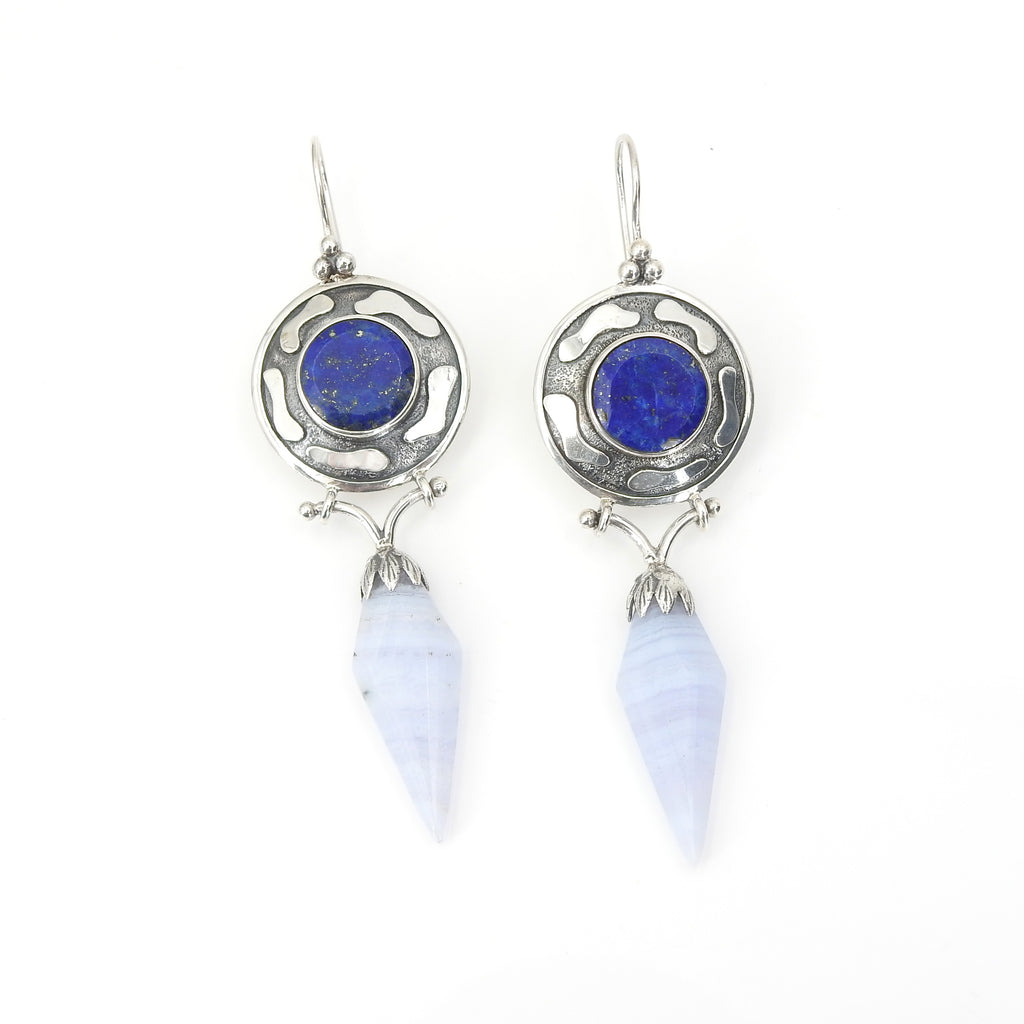 Sterling Silver Lapis & Agate Earrings