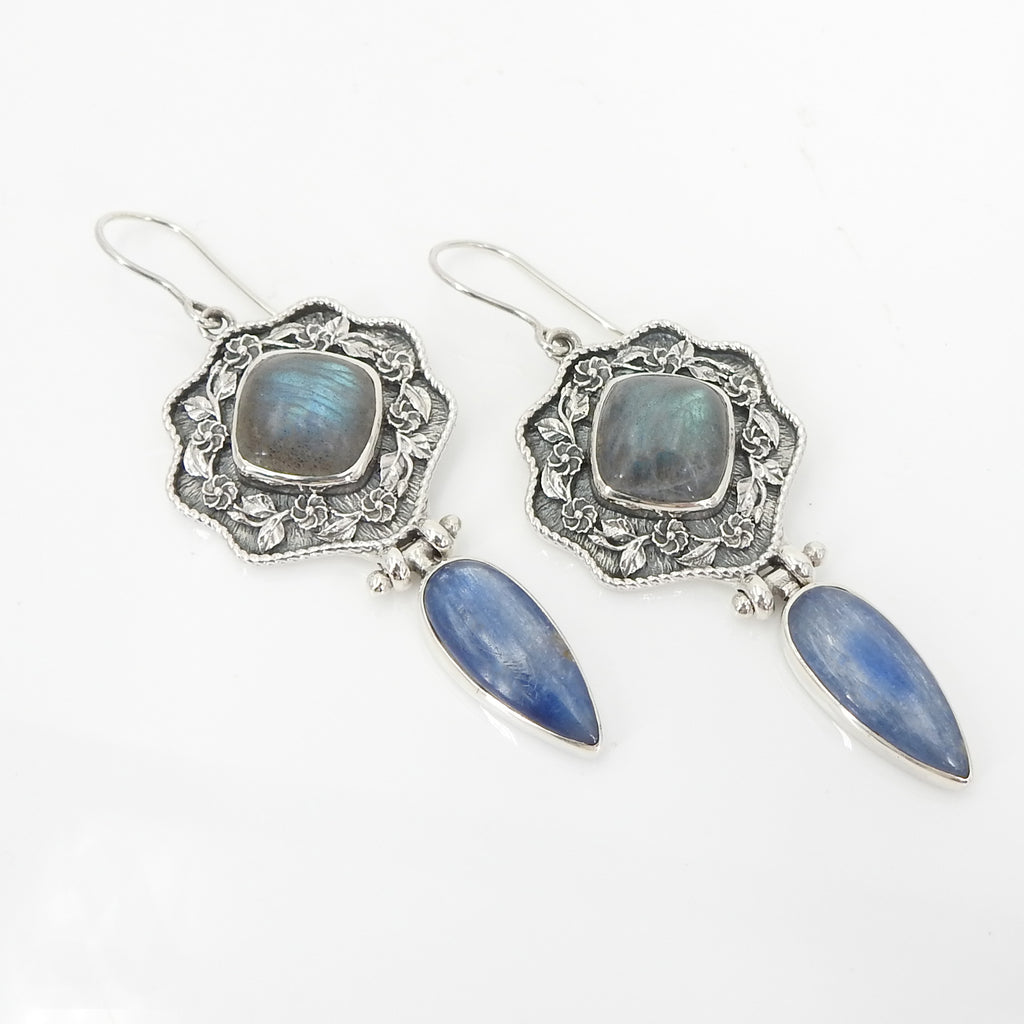 Sterling Silver Labradorite & Kyanite Earrings