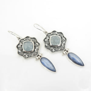 Sterling Silver Moonstone & Kyanite Earring