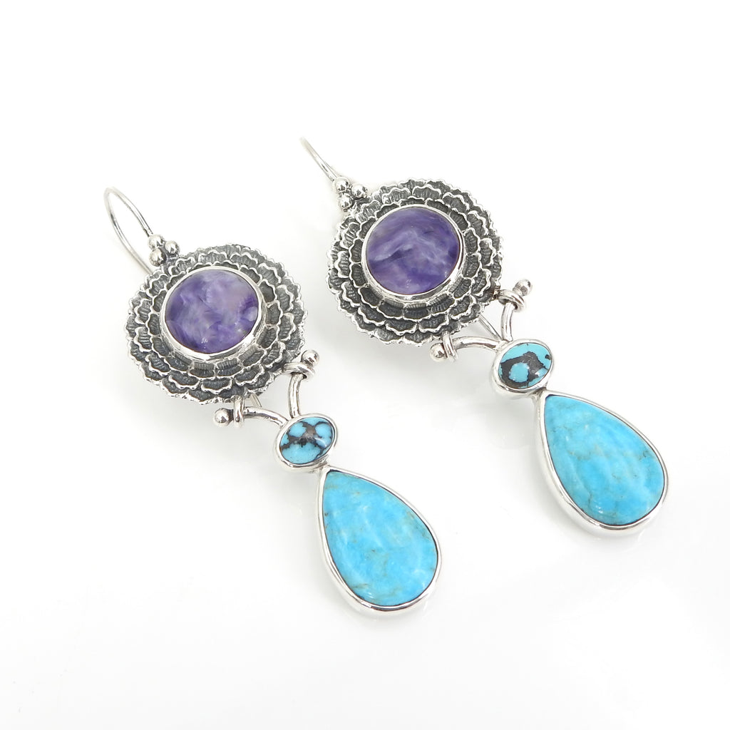 Sterling Silver Charoite & Turquoise Earrings