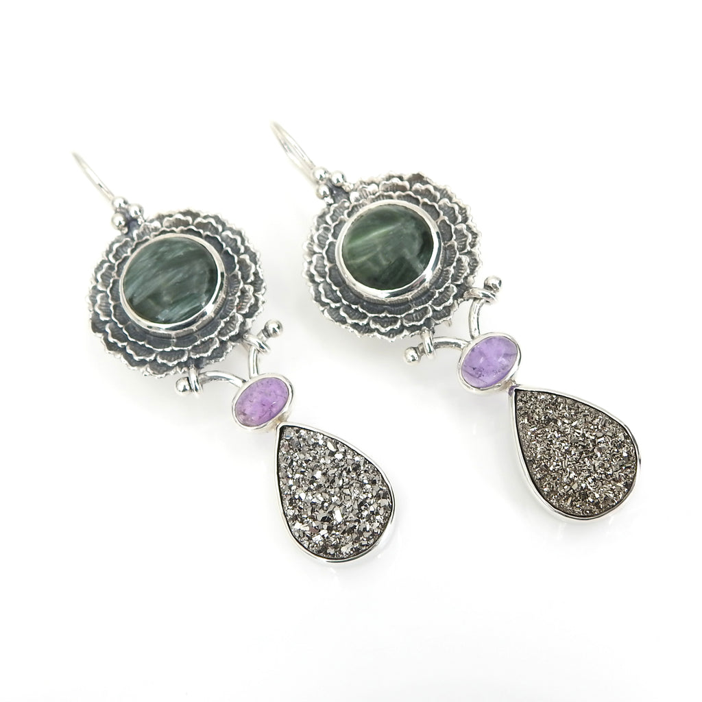 Sterling Silver Serpentine Amethyst & Druzy Earrings