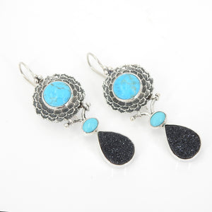 Sterling Silver Turquoise & Black Druzy Earrings