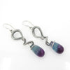 Sterling Silver Fluorite Snake Earrings