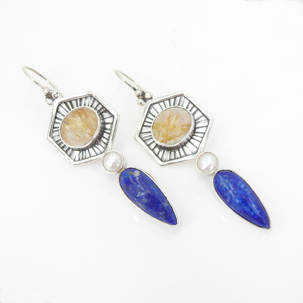 Sterling Silver Rutilated Quartz Pearl & Lapis