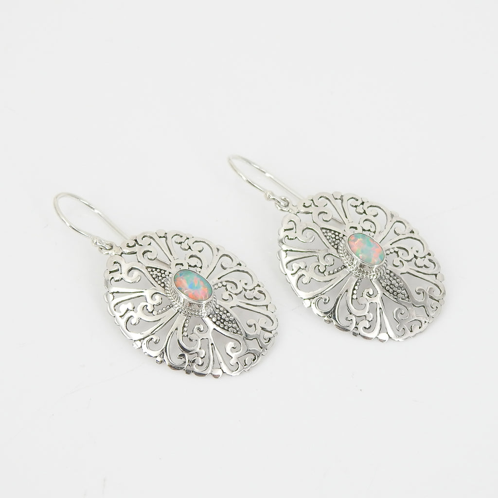 Sterling Silver Filigree Earring w/ Created Opal Center