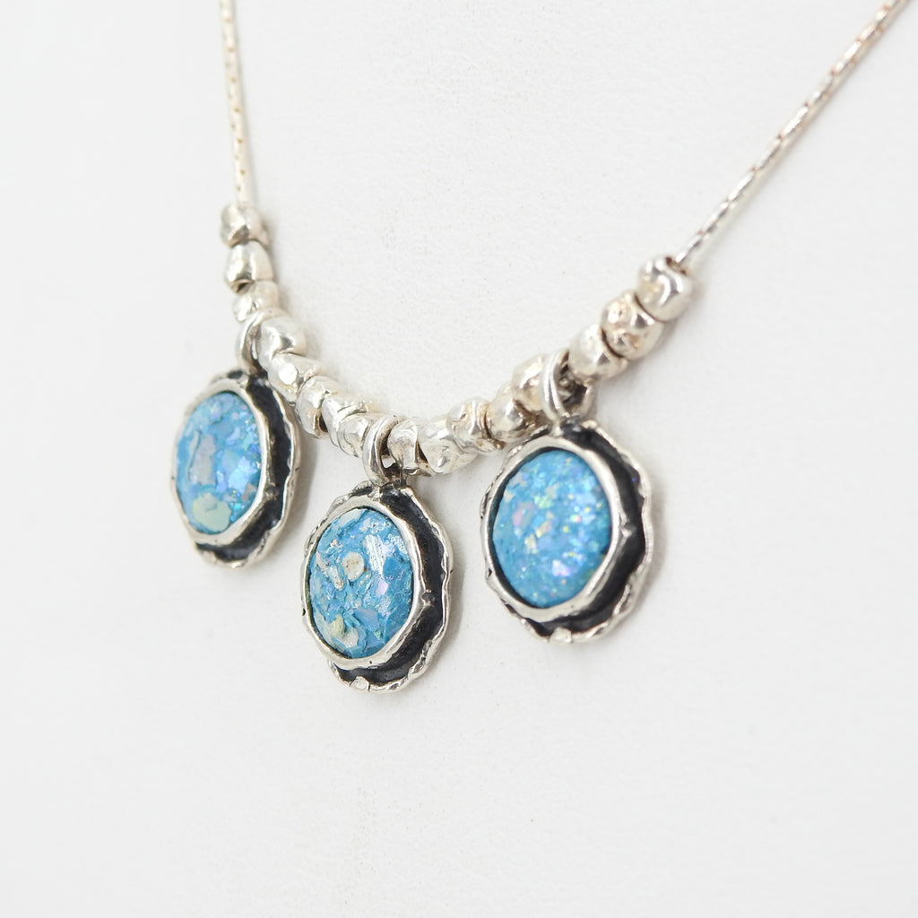 Sterling Silver Roman Glass Triplet Necklace