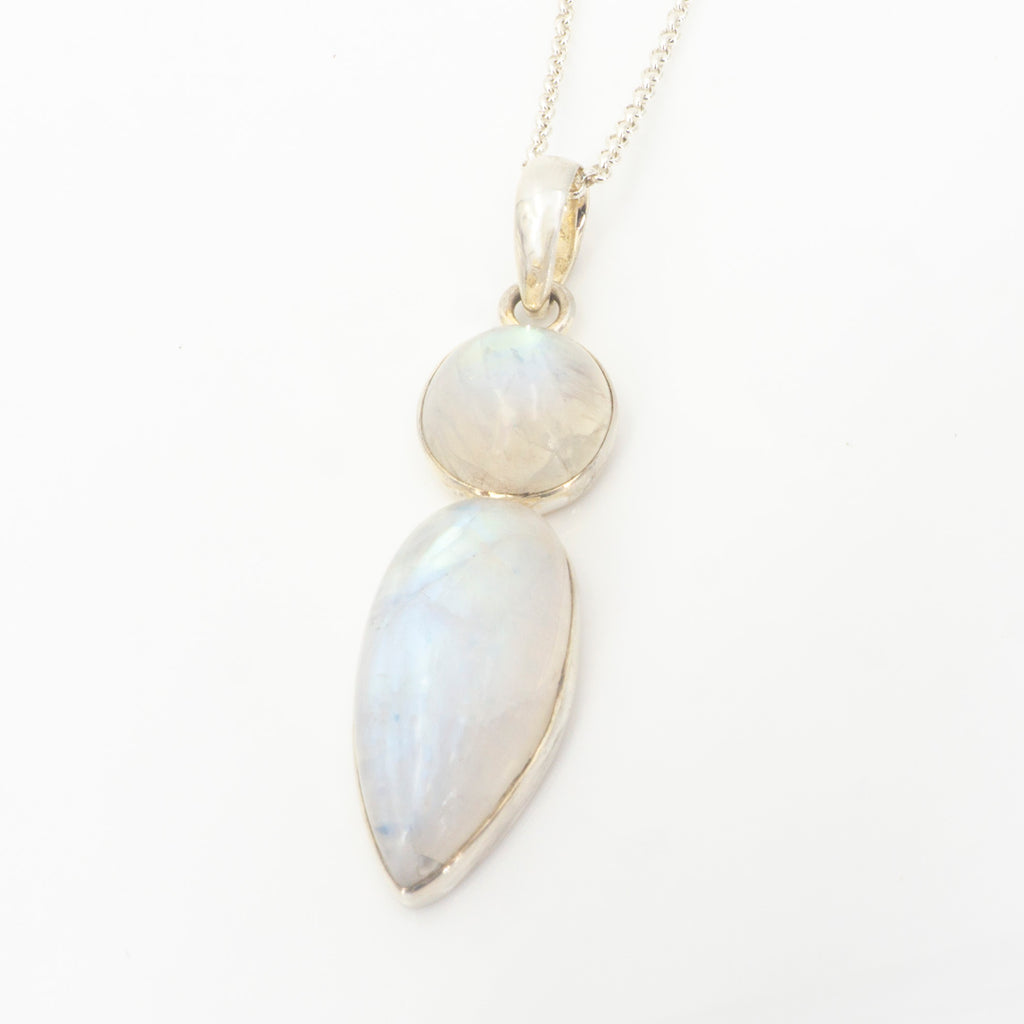 S/S Double Rainbow Moonstone Pendant