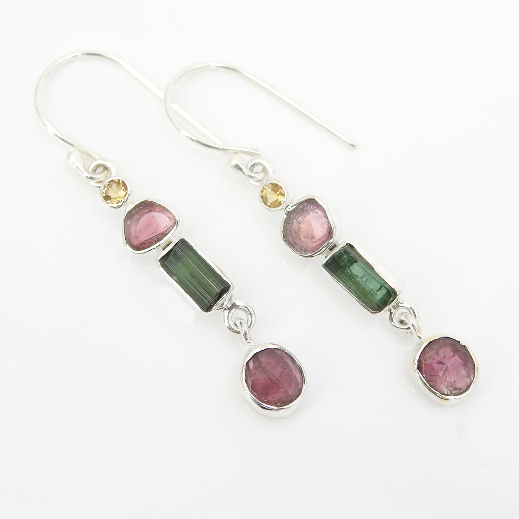 Sterling Silver With Pink Green and Watermelon Tourmaline Dangle Earrings