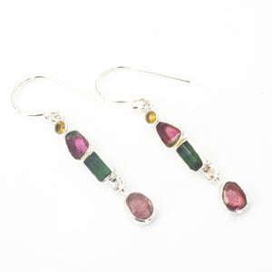 S/S Mixed Tourmaline Citrine Earrings