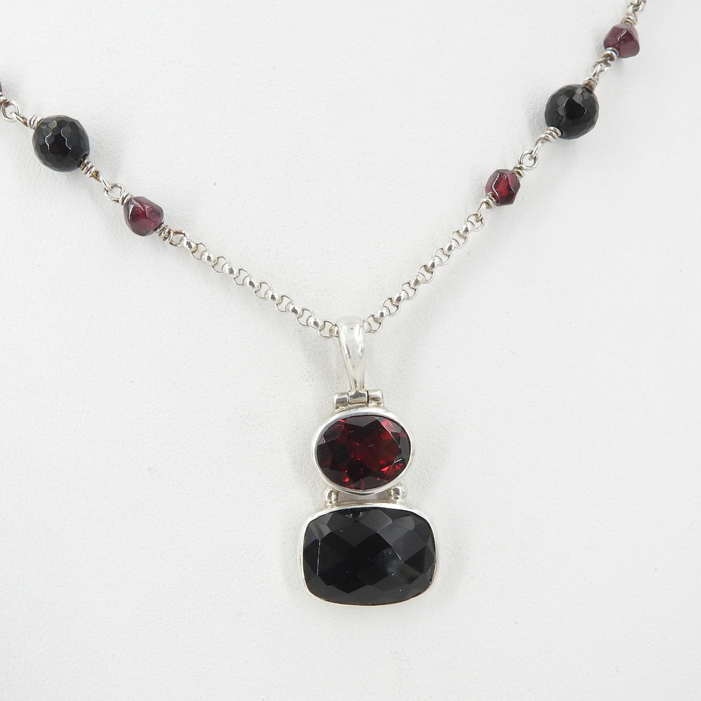 Sterling Silver Garnet and Onyx Necklace