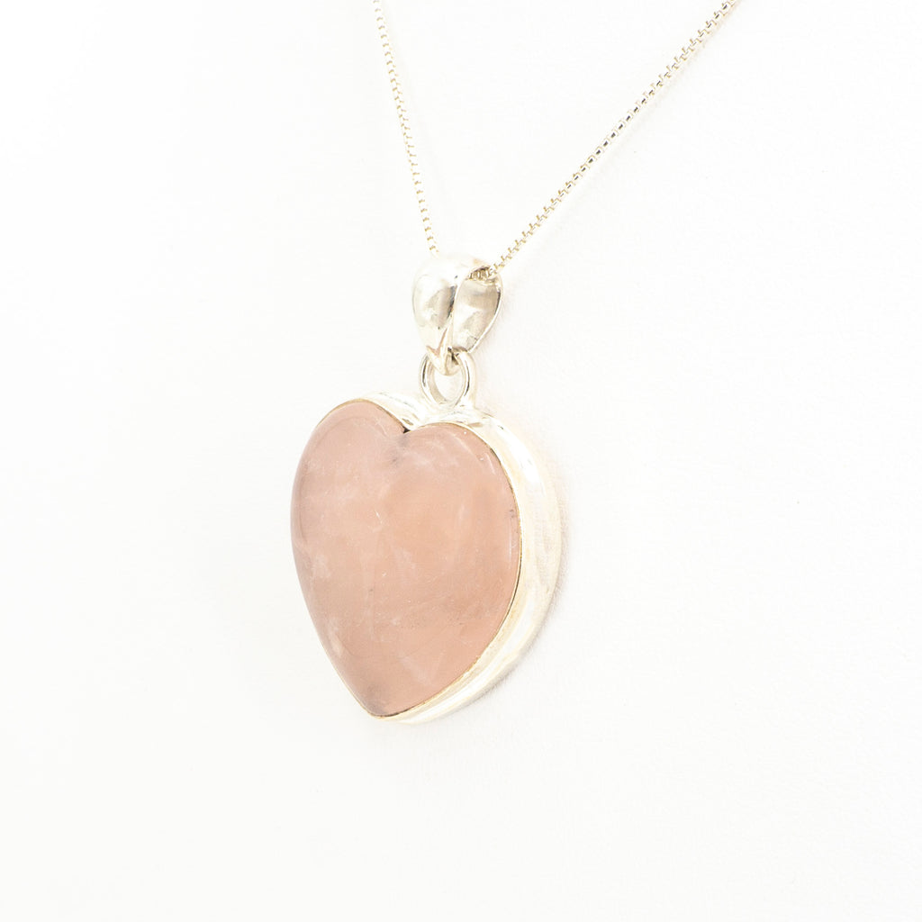 S/S Rose Quartz Heart Pendant