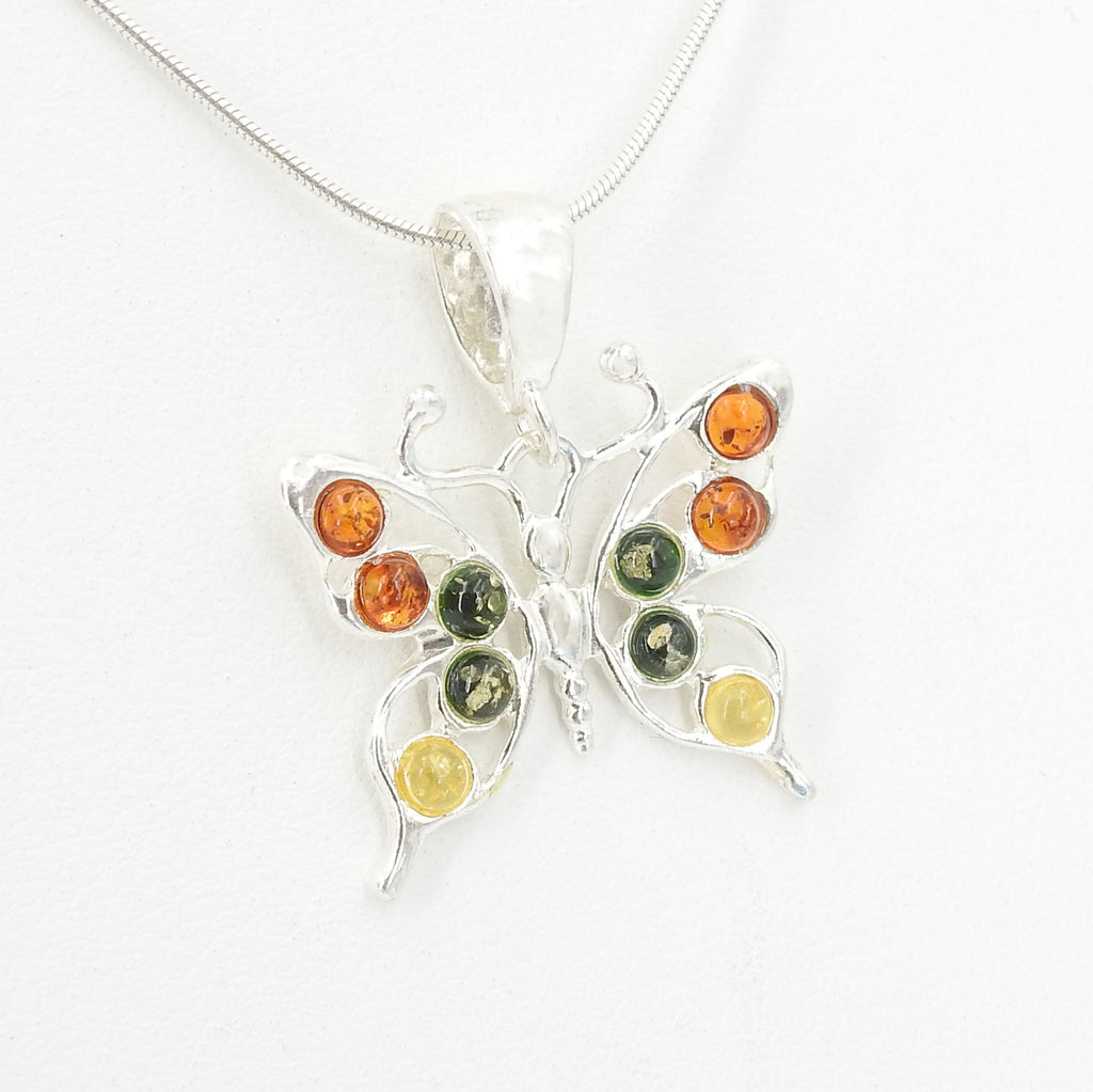 S/S Butterfly Pendant W Mixed Amber