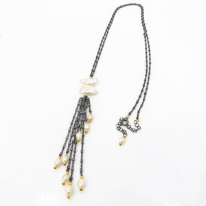 S/S Pearl W Tassel Necklace