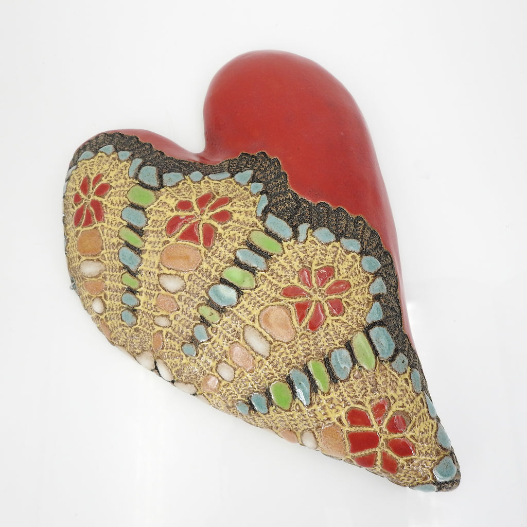 "Handmade Ceramic Heart Wall Hanging Titled ""Julia's New Look"""