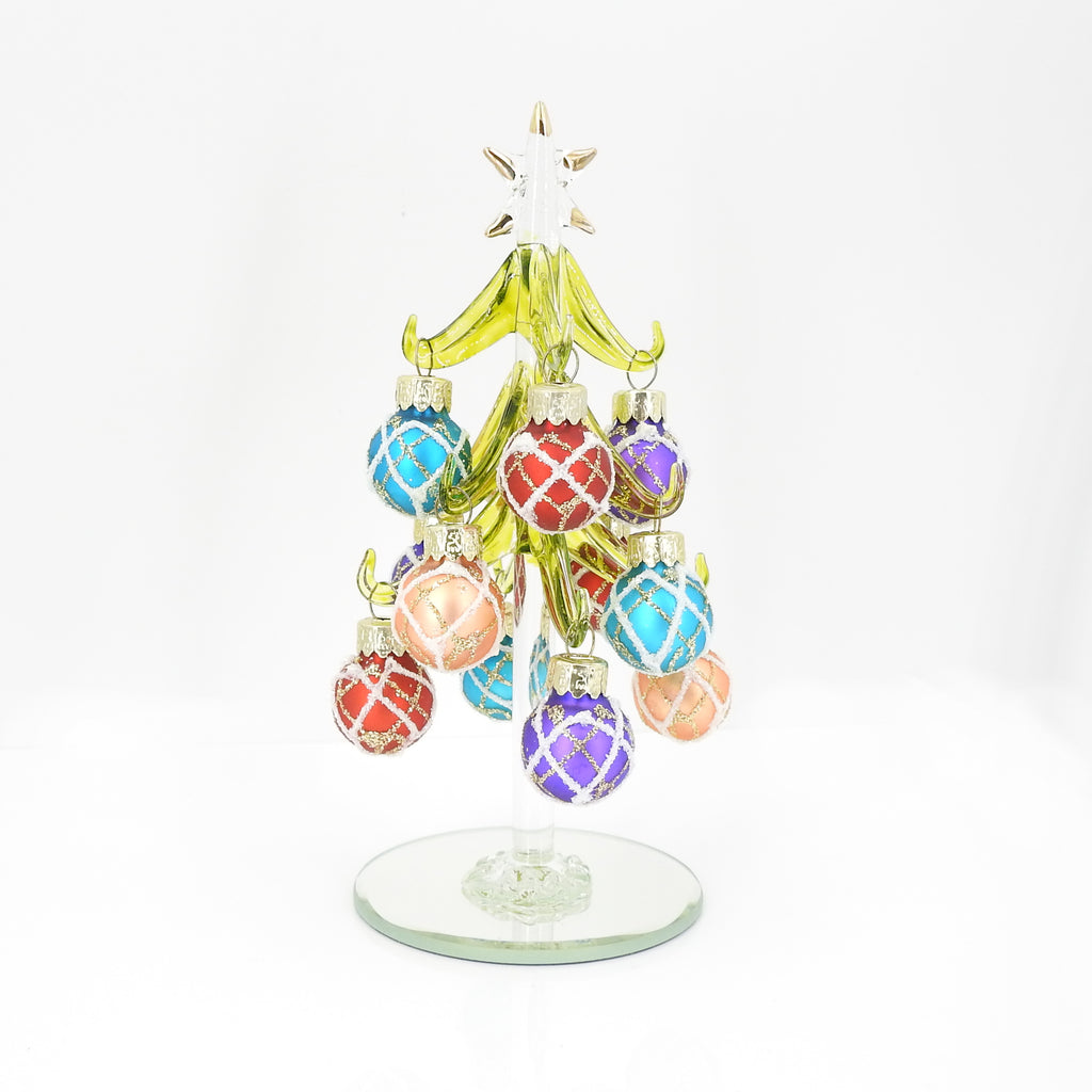 "6"" Glass Holiday Tree With Ornaments"