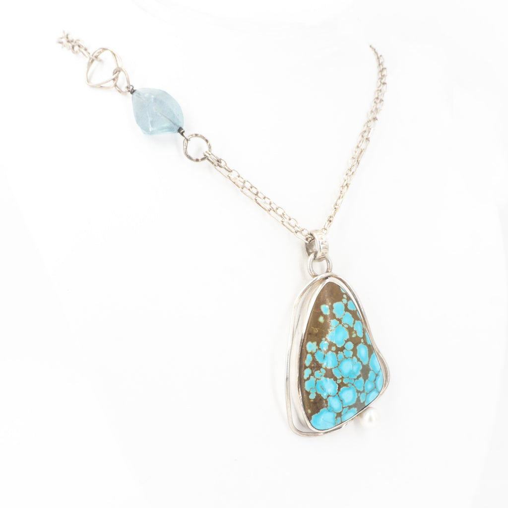 S/S Turquoise Blue Topaz Pearl Necklace