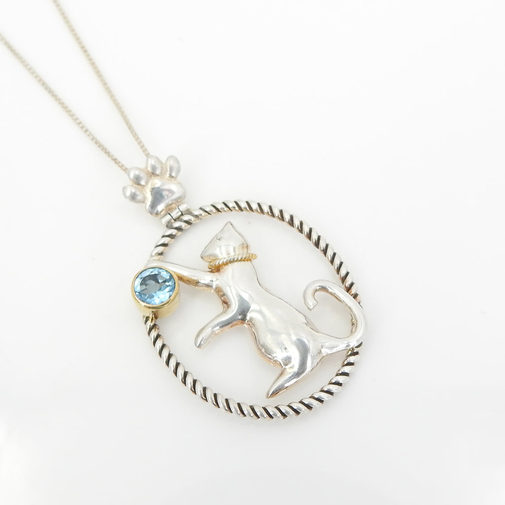 Sterling Silver Gold Vermeil Cat w/ Blue Topaz Pendant