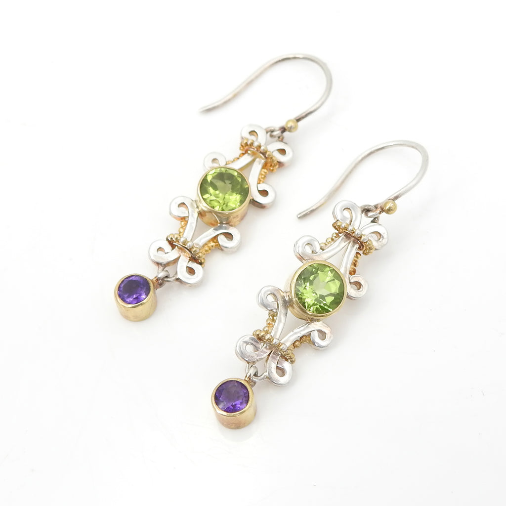 Sterling Silver 22KT Gold Vermeil Peridot & Amethyst Earrings