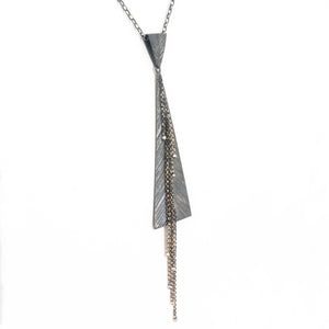 S/S Texture Oxidized Triangle Necklace