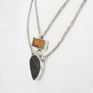 Sterling Silver Rough Black Tourmaline and Citrine Necklace