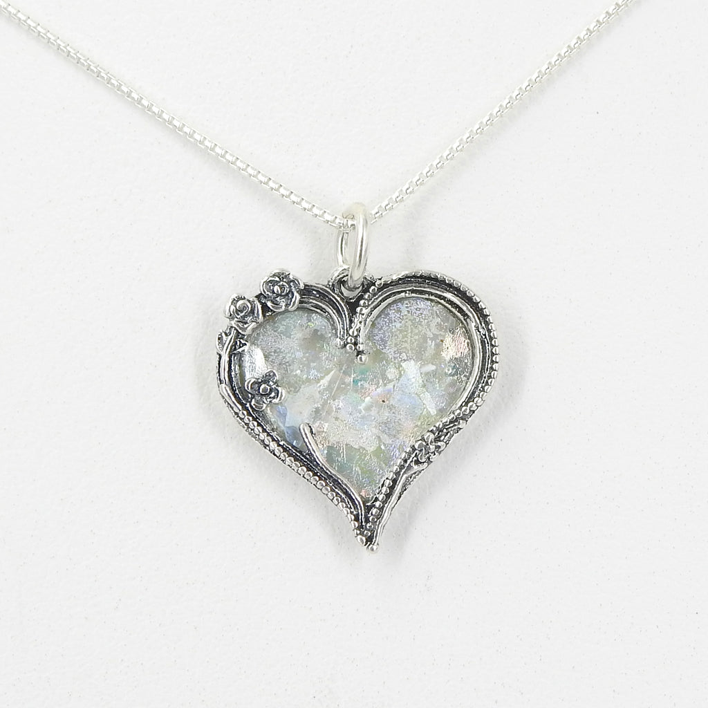 Sterling Silver Roman Glass Heart Necklace
