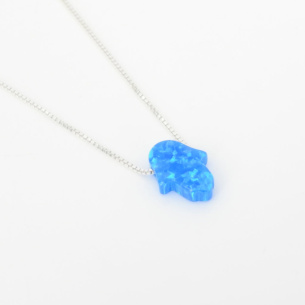 Sterling Silver Created Opal Hamsa Necklace