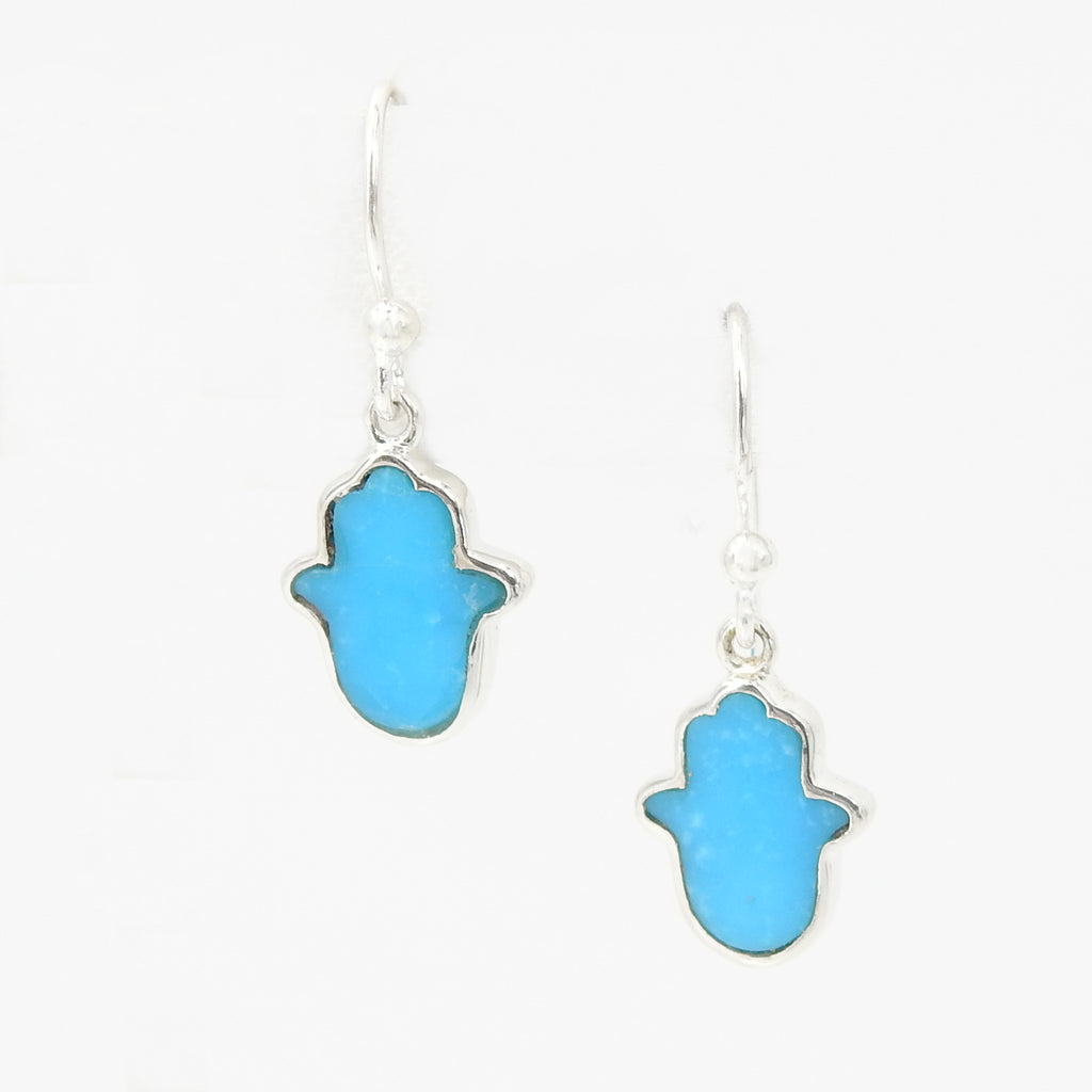 Sterling Silver Turquoise Hamsa Earring
