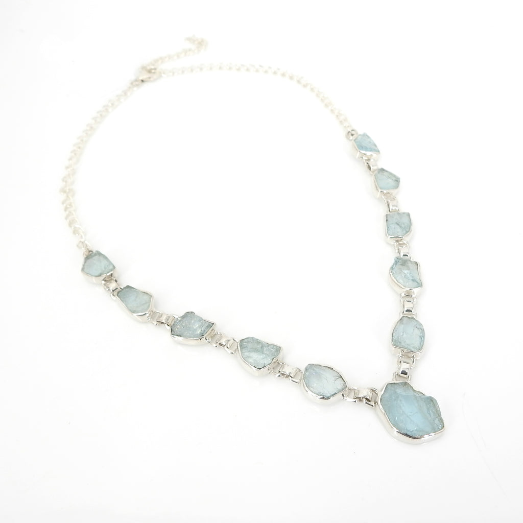 Sterling Silver Rough Aquamarine Necklace