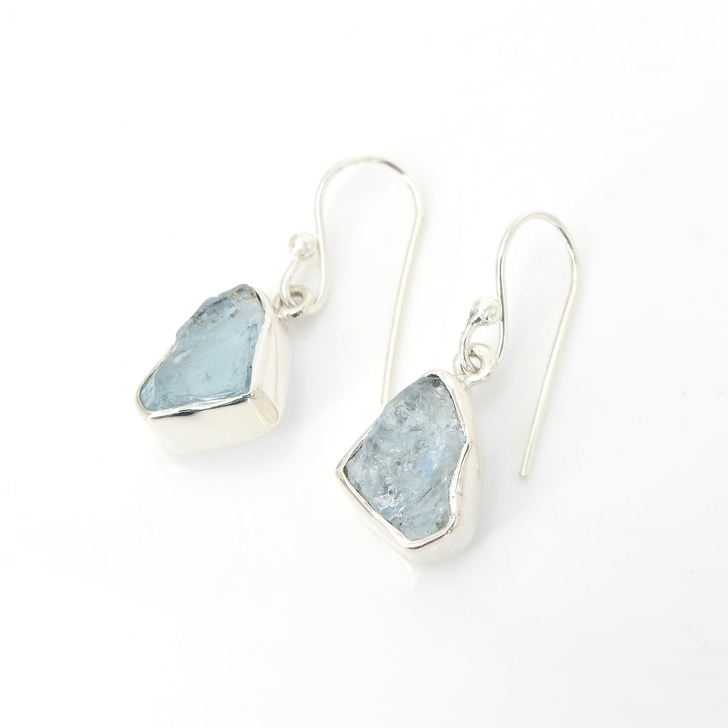 Sterling Silver Rough Aquamarine Earrings